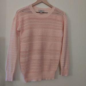 NWOT- Loft Womens Pink Knit Crew Neck Sweater XS